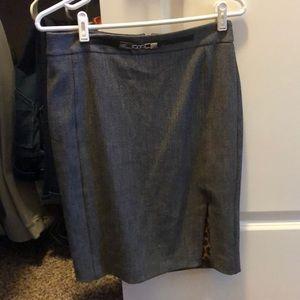 Houndstooth Pencil Skirt w/ Side Slit